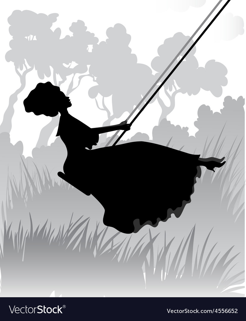 Lady on a swing vector | Price: 1 Credit (USD $1)
