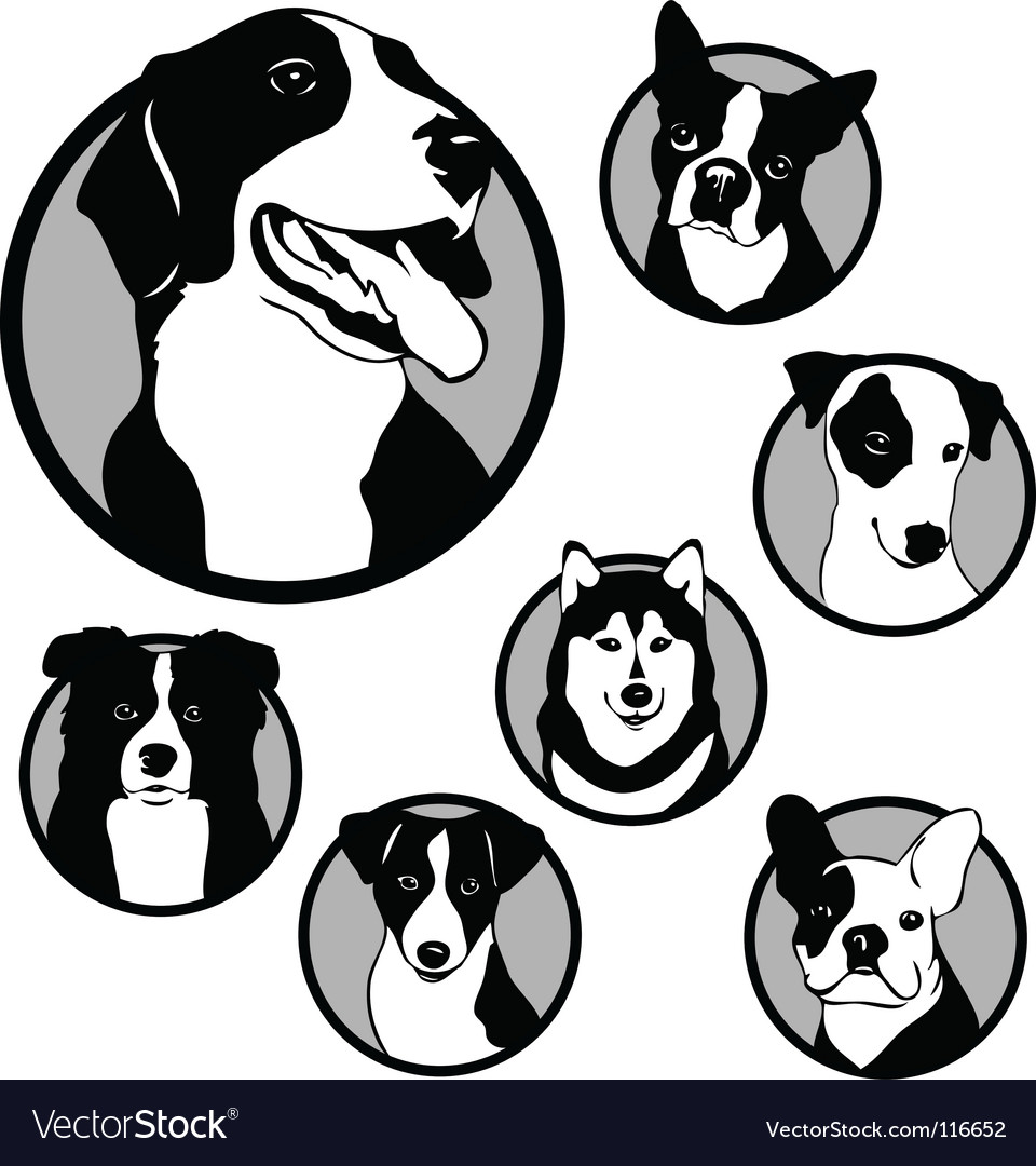 Round dog emblems and stickers vector | Price: 1 Credit (USD $1)