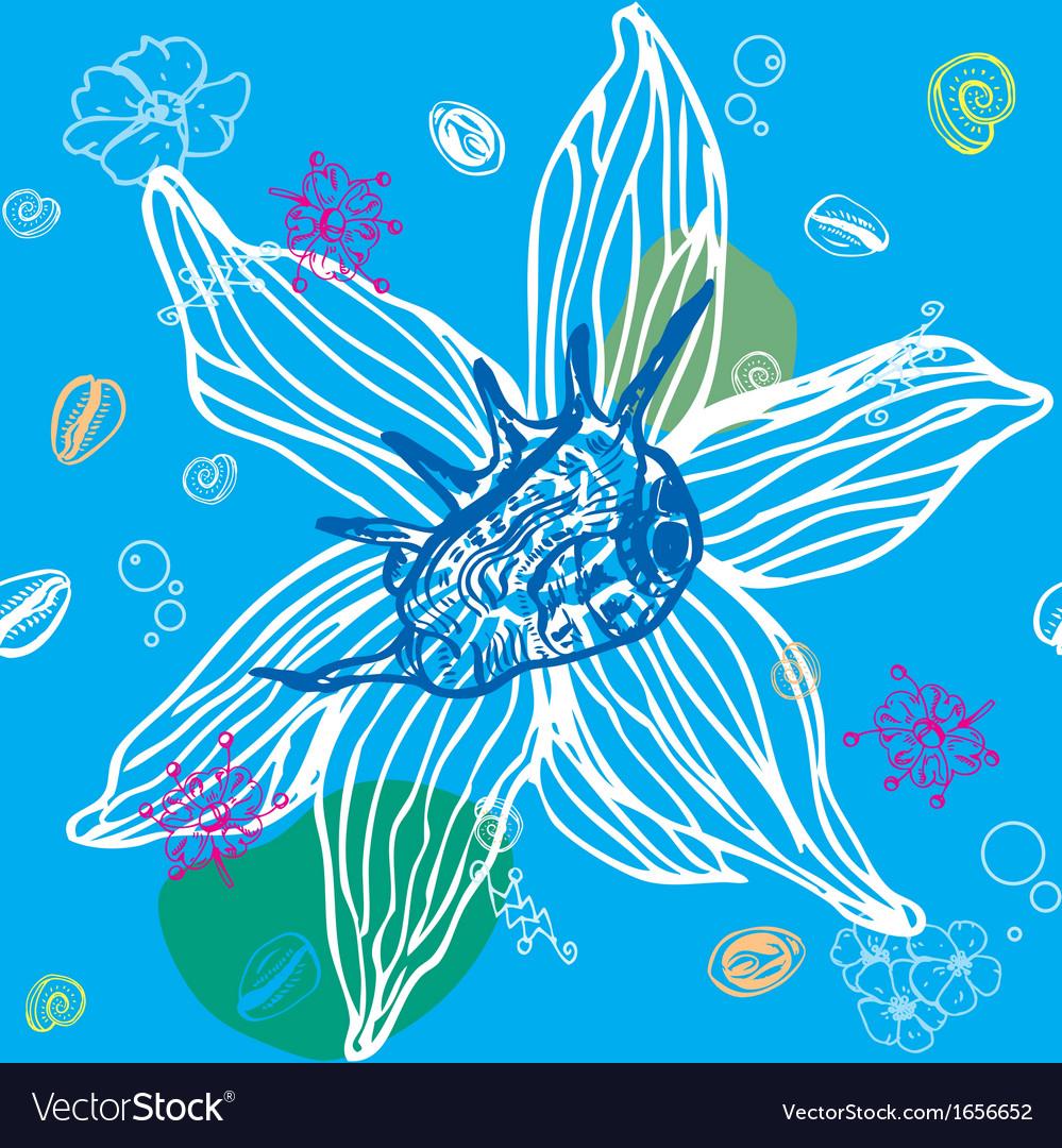 Sea shells seamless pattern vector | Price: 1 Credit (USD $1)