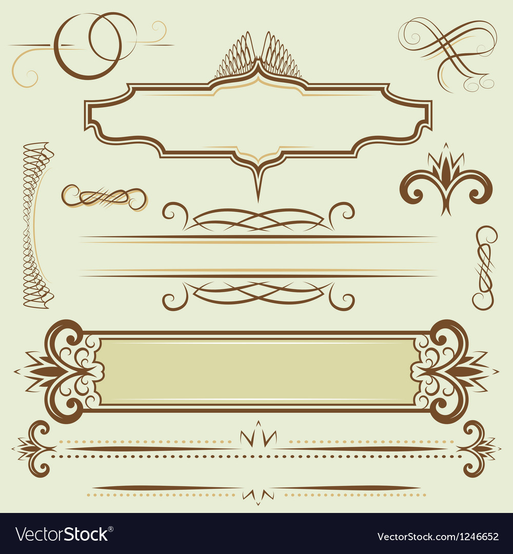 Set monograms and borders vector | Price: 1 Credit (USD $1)