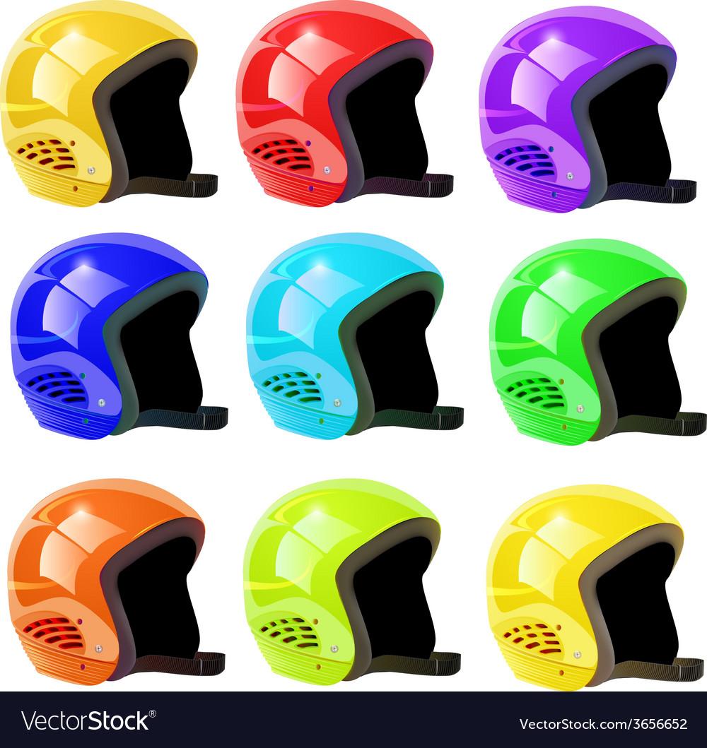 Set of helmets luge vector | Price: 1 Credit (USD $1)
