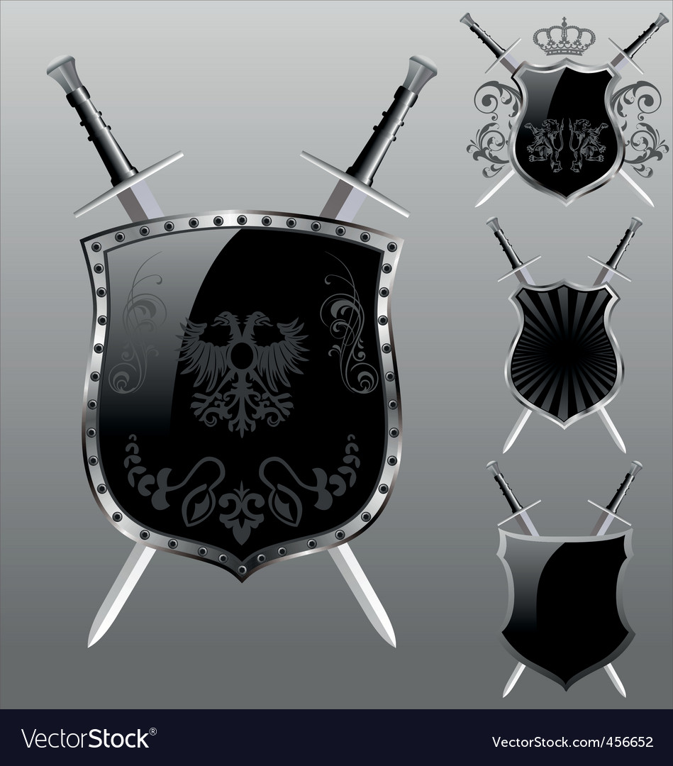 Shield with sword vector