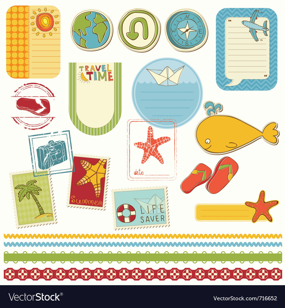 Summer holiday scrapbook set vector | Price: 1 Credit (USD $1)