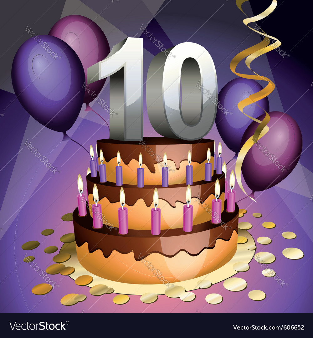 Tenth anniversary cake vector | Price: 1 Credit (USD $1)