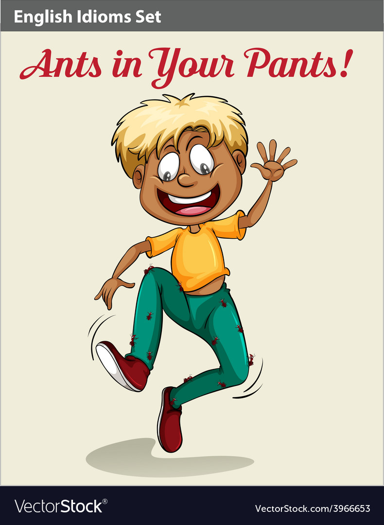 A boy with ants in his pants vector | Price: 1 Credit (USD $1)