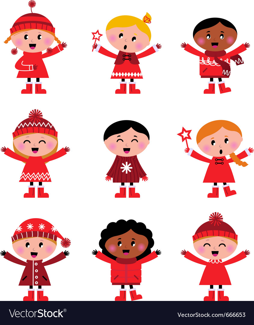 Cute little christmas kids vector | Price: 3 Credit (USD $3)