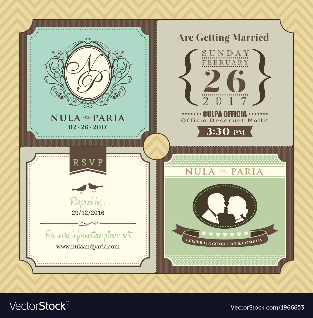 Vintage boarding pass ticket wedding invitatation vector | Price: 1 Credit (USD $1)