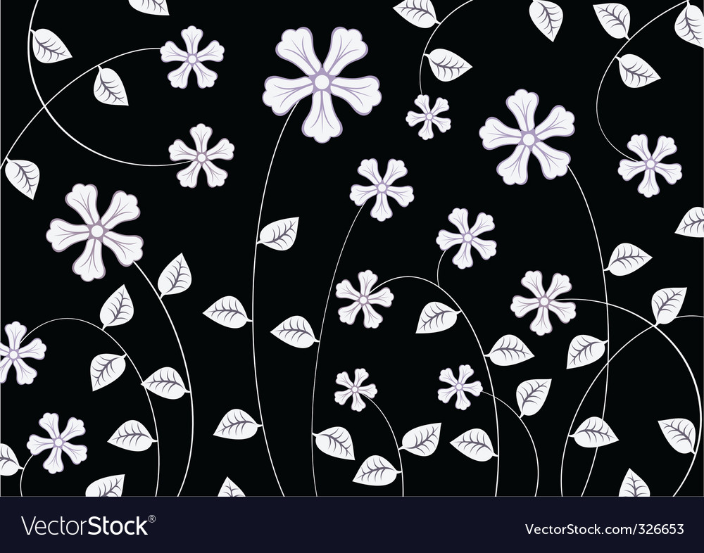 White funky flowers abstract pattern vector | Price: 1 Credit (USD $1)