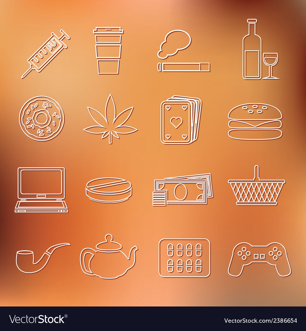 Addiction outline icons vector | Price: 1 Credit (USD $1)