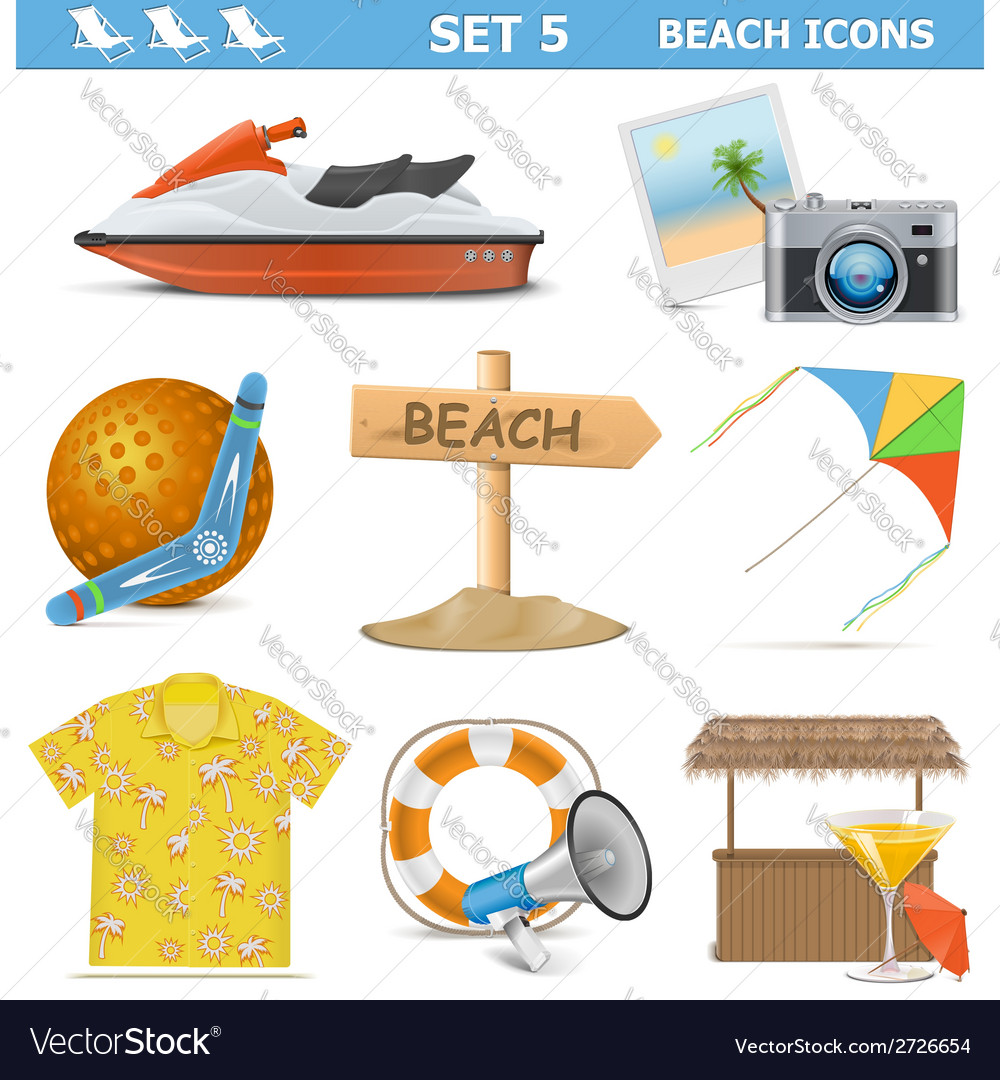 Beach icons set 5 vector | Price: 1 Credit (USD $1)