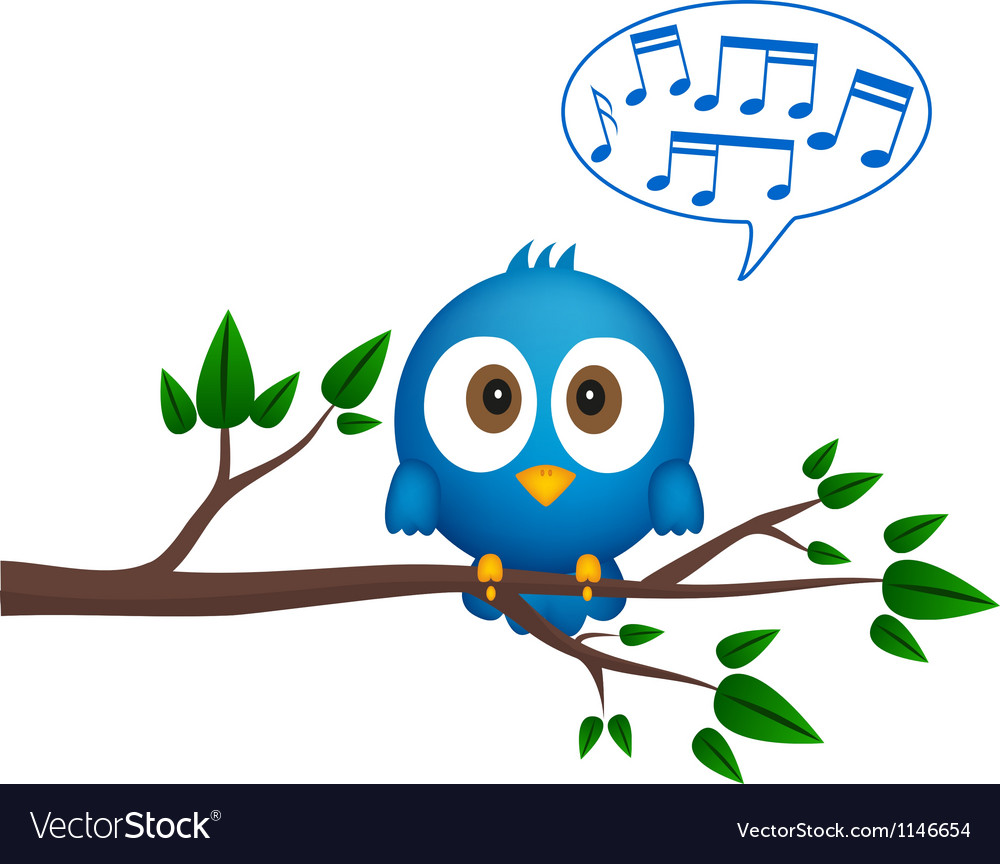 Blue bird sitting on twig singing vector | Price: 1 Credit (USD $1)