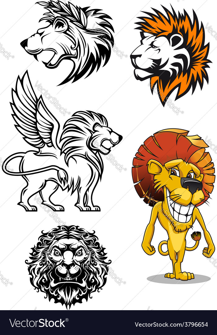 Cartoon and heraldic lion characters vector | Price: 1 Credit (USD $1)