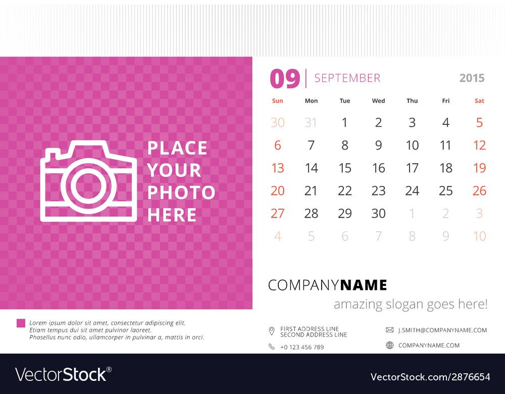 Desk calendar 2015 template week starts sunday vector | Price: 1 Credit (USD $1)