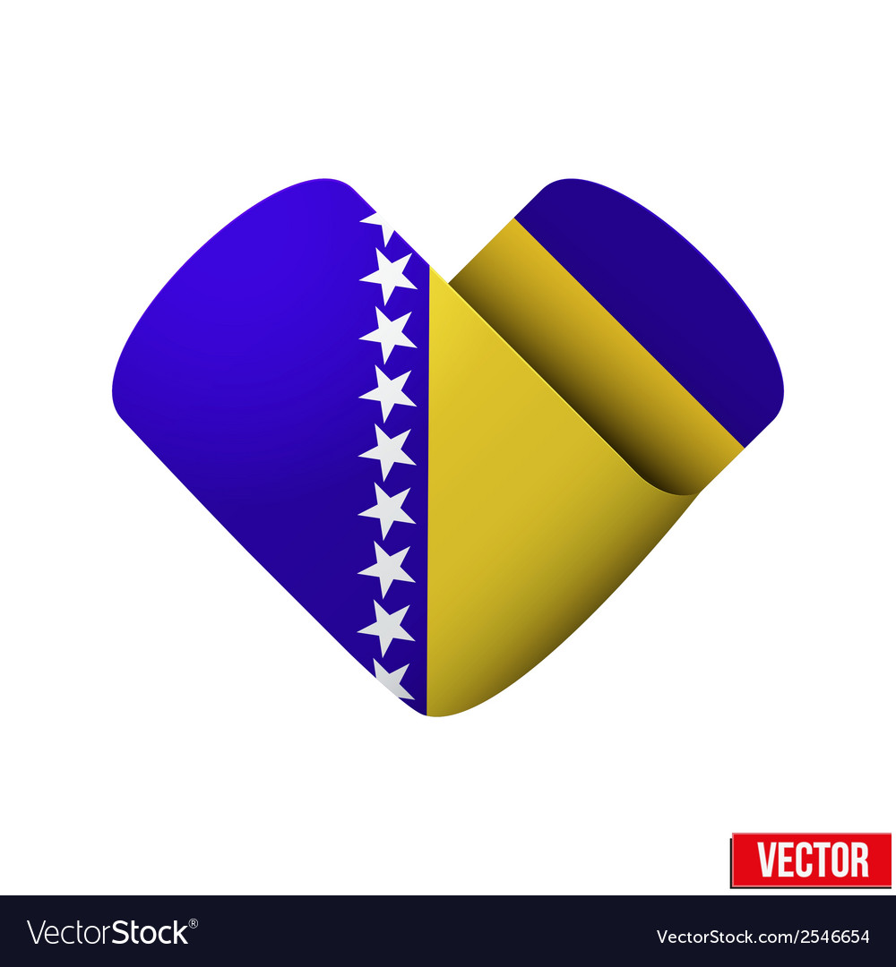 Flag icon in the form of heart i love bosnia and vector | Price: 1 Credit (USD $1)