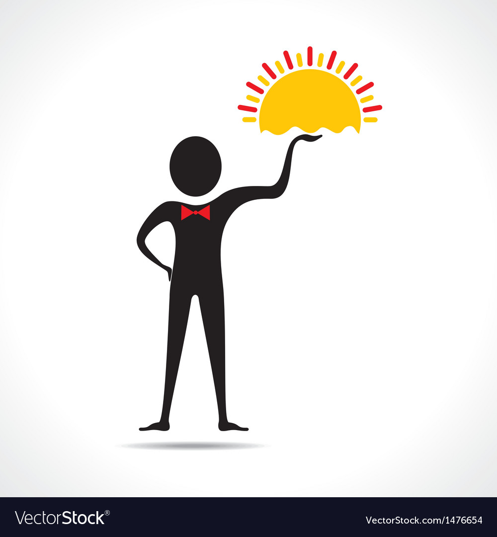 Man holding sun icon vector | Price: 1 Credit (USD $1)