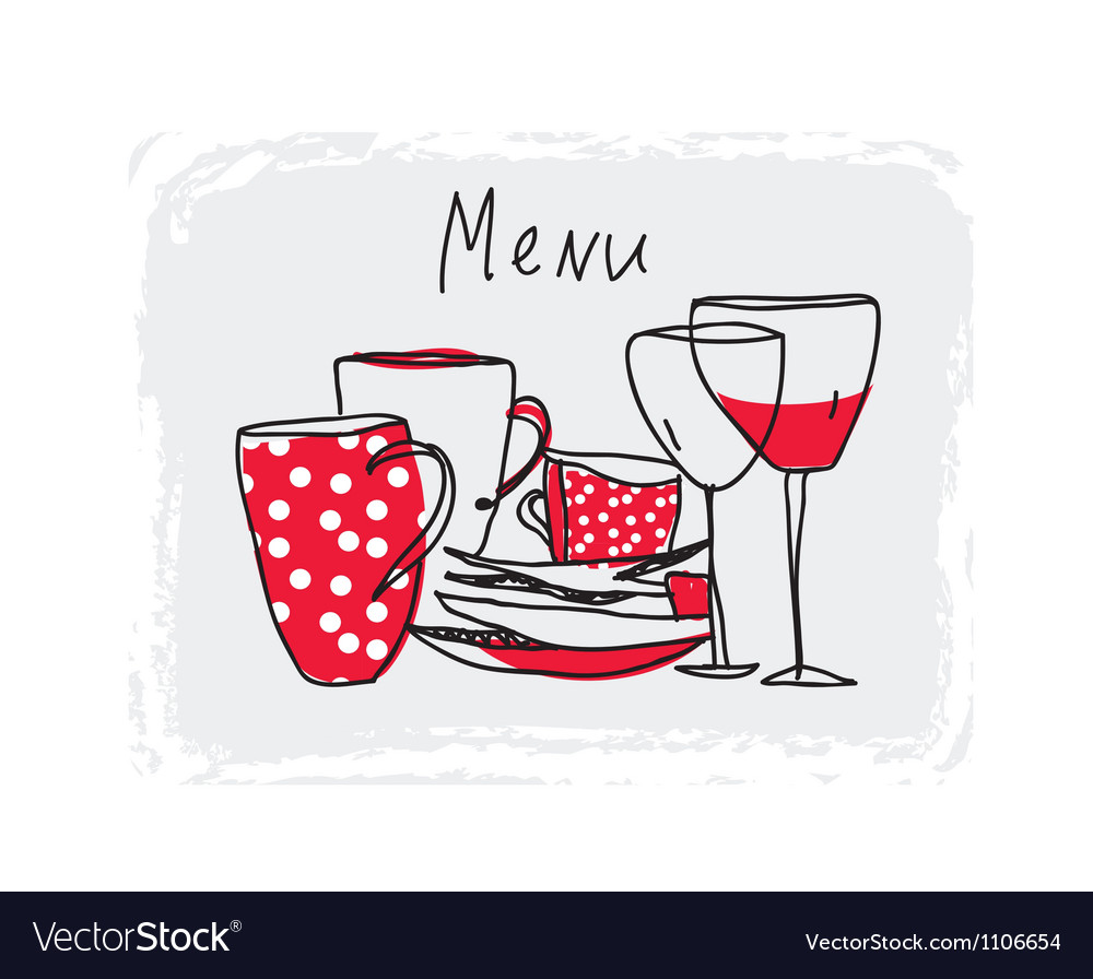 Menu hand drawn design with pottery vector | Price: 1 Credit (USD $1)