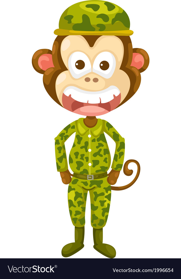 Monkey army vector | Price: 1 Credit (USD $1)