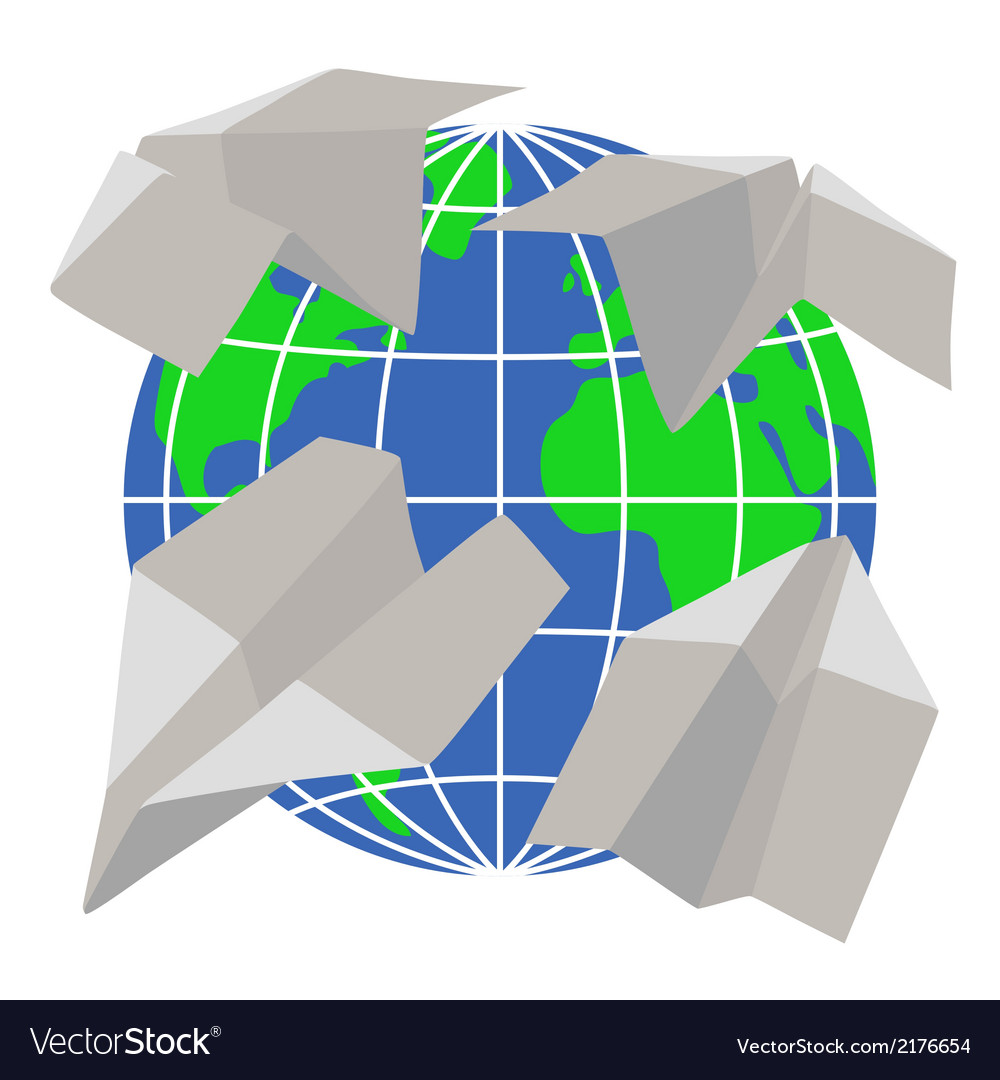 Paper airplanes fly around the planet earth vector | Price: 1 Credit (USD $1)