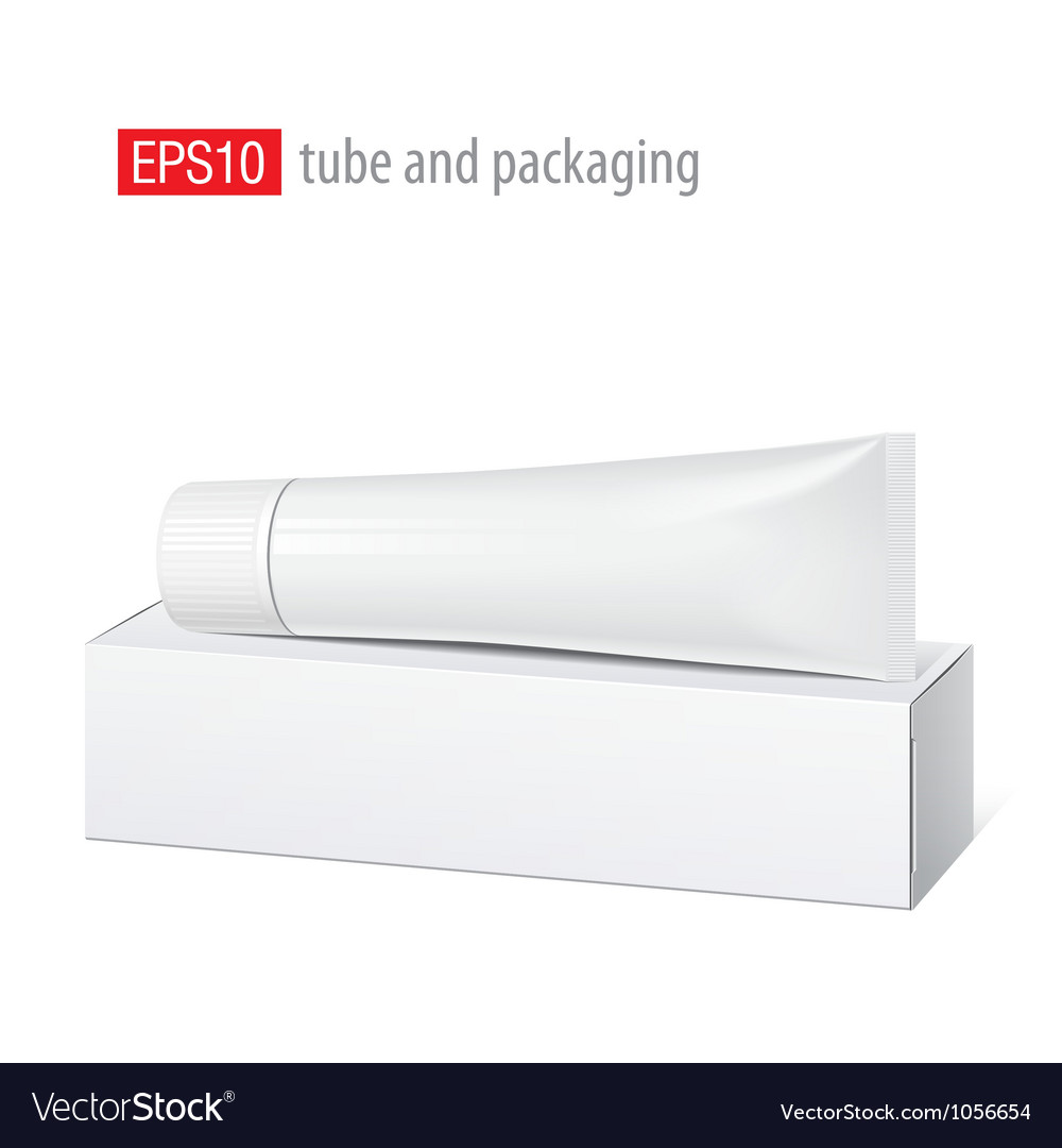 Realistic white tube and packaging vector | Price: 1 Credit (USD $1)