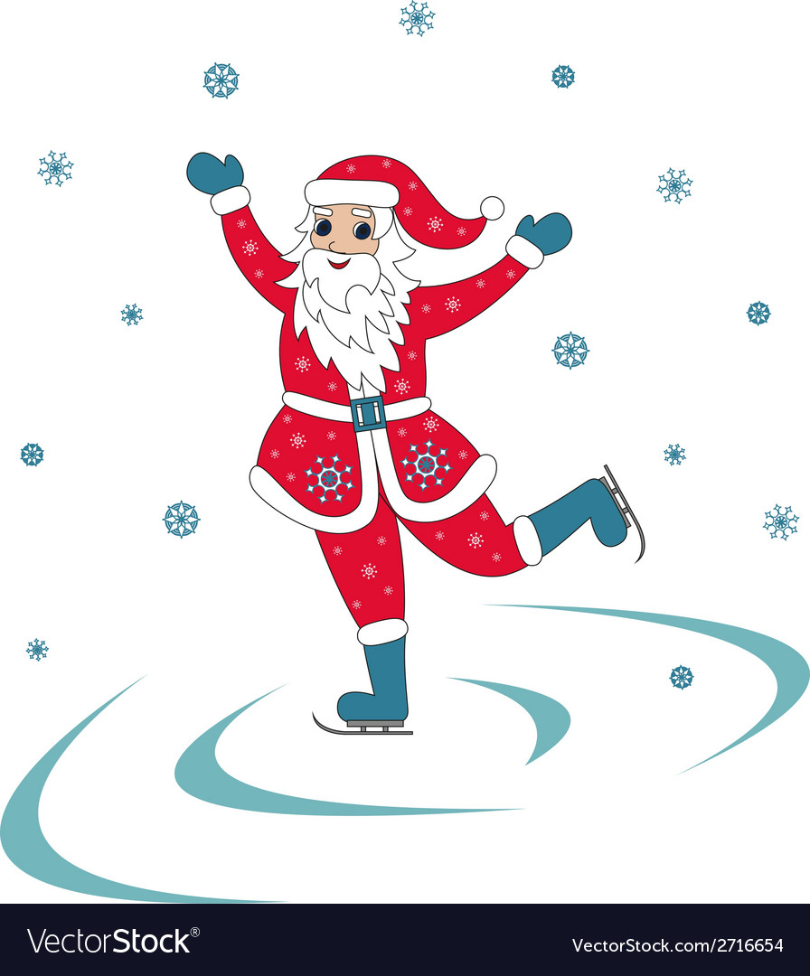 Santa claus ice skating vector | Price: 1 Credit (USD $1)