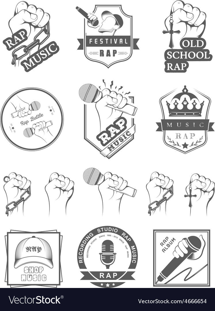 Set logos and badges rap music vector | Price: 1 Credit (USD $1)