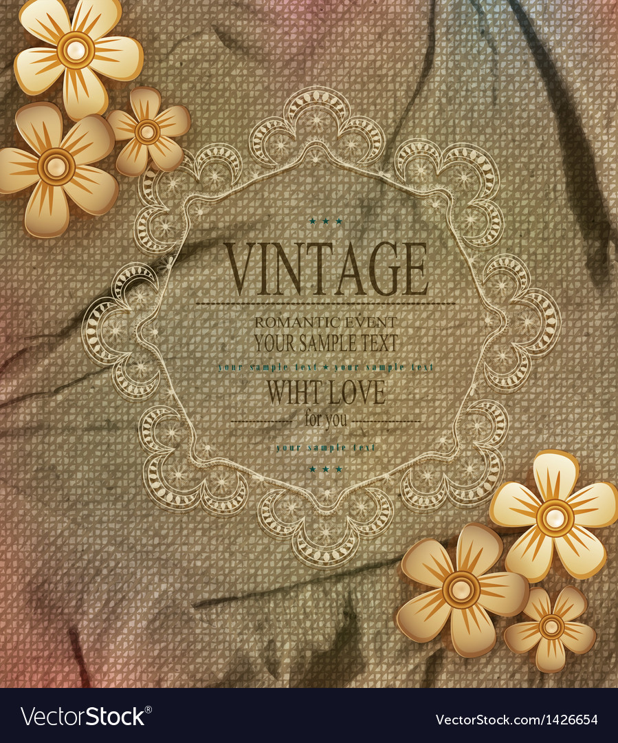 Vintage background with drawing flowers vector | Price: 1 Credit (USD $1)