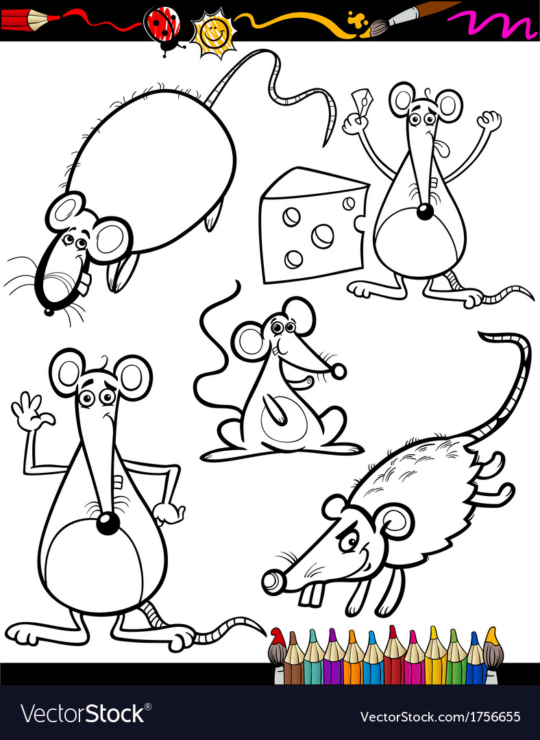 Cartoon rodents for coloring book vector | Price: 1 Credit (USD $1)