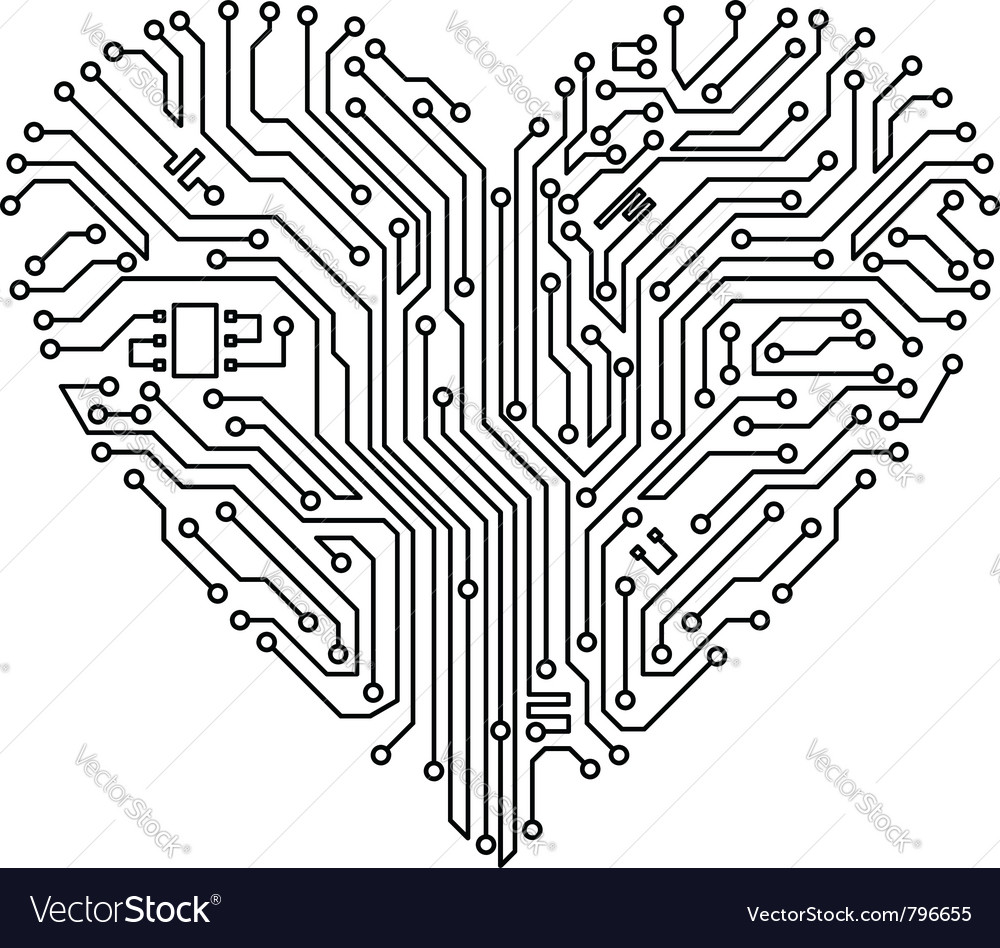 Computer heart with motherboard vector | Price: 1 Credit (USD $1)