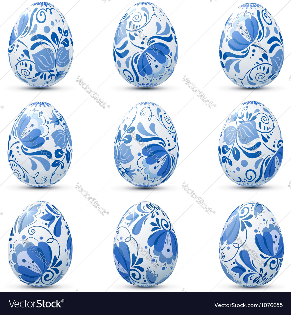 Easter eggs icon set in traditional russian style vector | Price: 1 Credit (USD $1)
