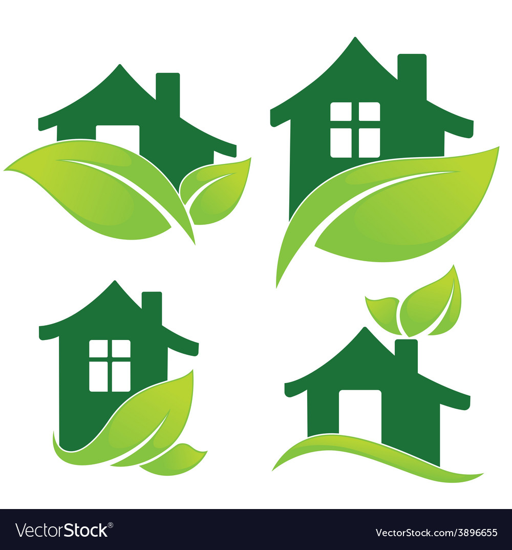 Green home vector | Price: 1 Credit (USD $1)