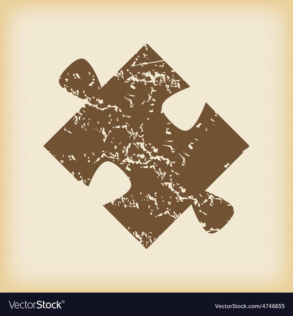 Grungy puzzle icon vector | Price: 1 Credit (USD $1)