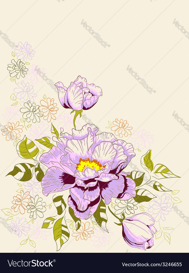 Hand drawn decorative background with peony vector   Price: 1 Credit (USD $1)