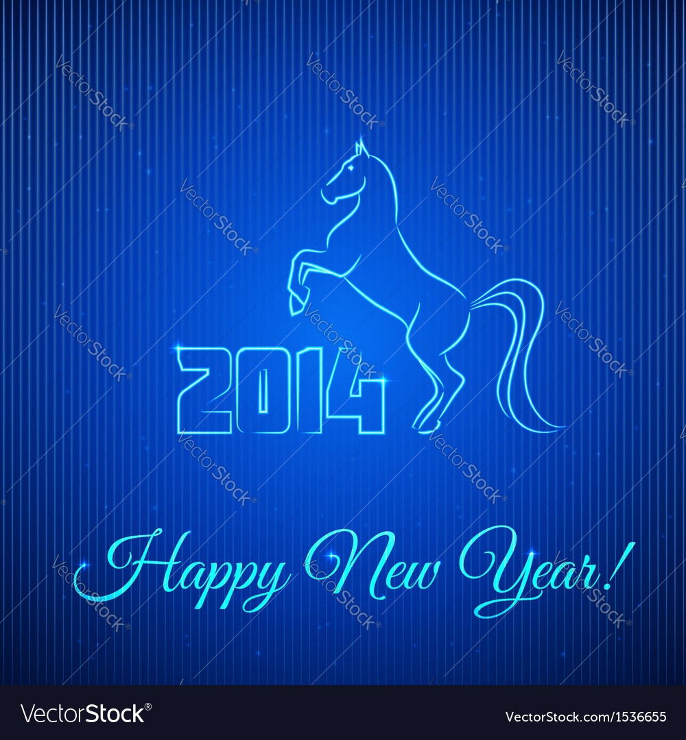 Happy new year 2014 illuminated neon horse vector | Price: 1 Credit (USD $1)