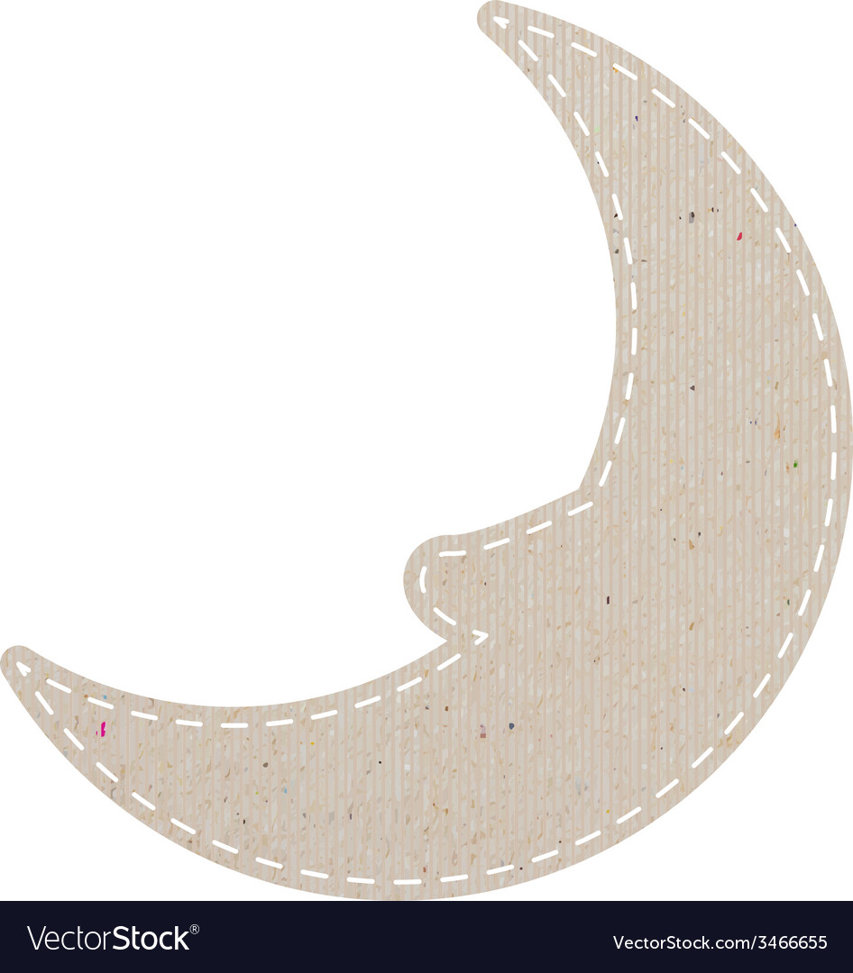 Moon recycled papercraft on white paper background vector | Price: 1 Credit (USD $1)