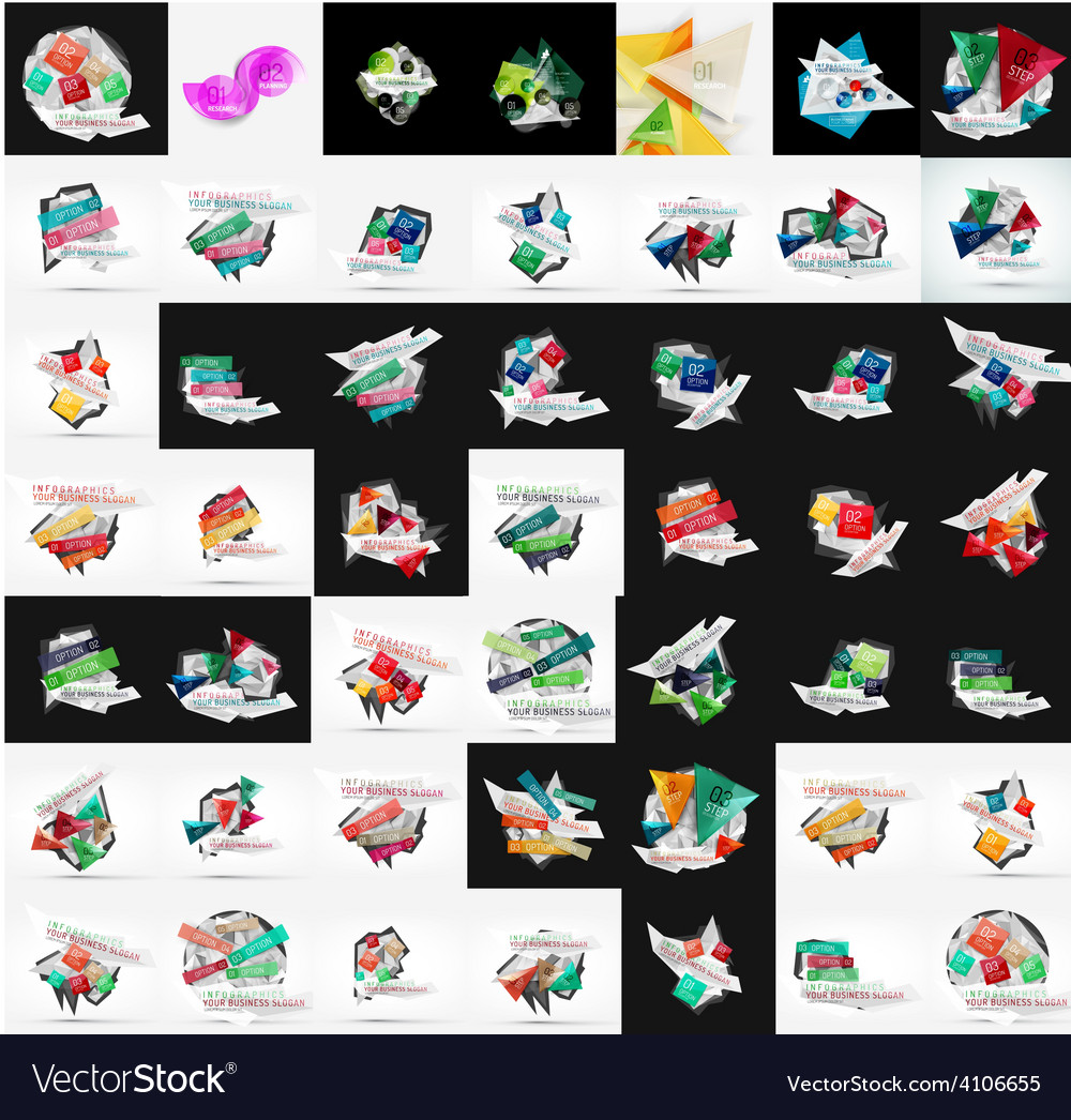 Paper graphic banners set mega collection vector | Price: 1 Credit (USD $1)