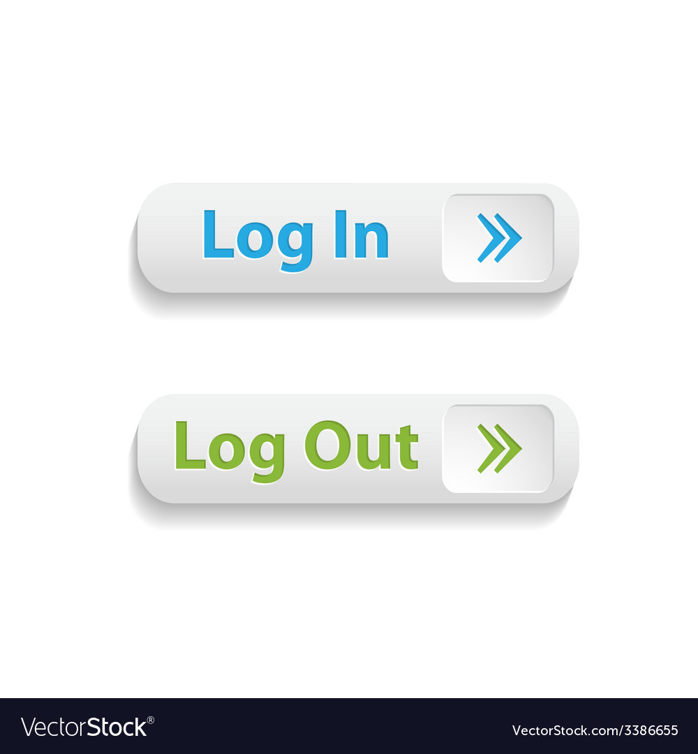 Realistic web login and log out buttons isolated vector | Price: 1 Credit (USD $1)