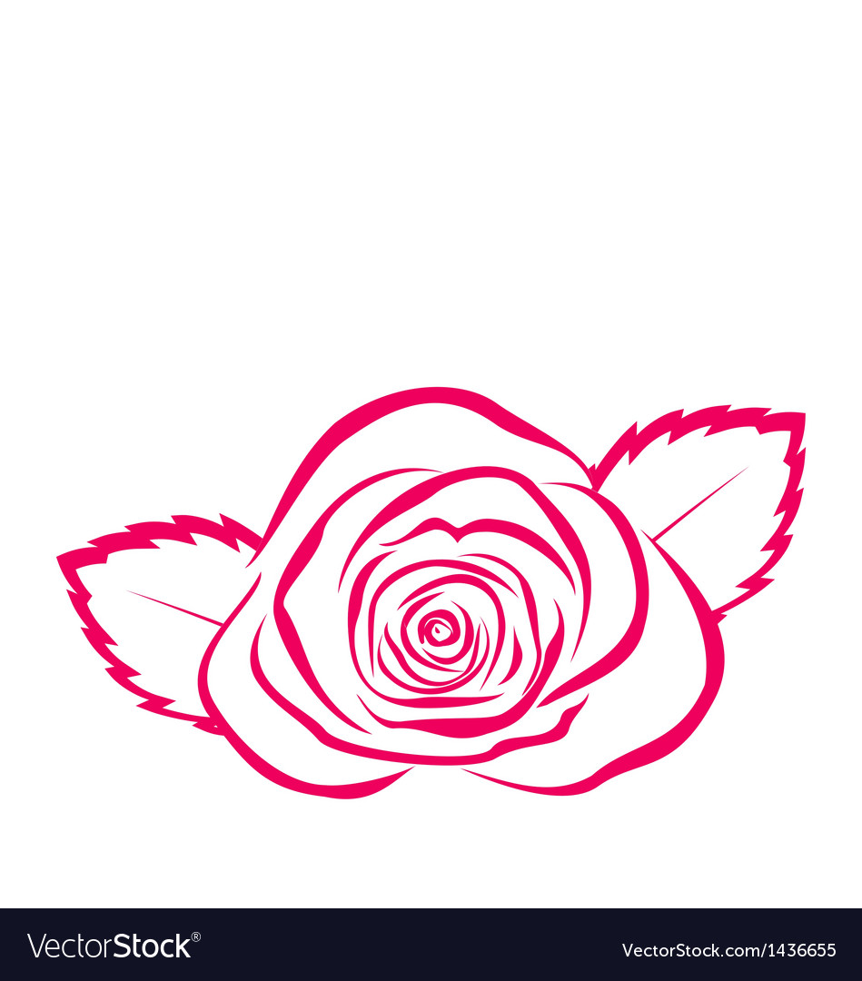 Rose hand drawen style isolated on white vector | Price: 1 Credit (USD $1)