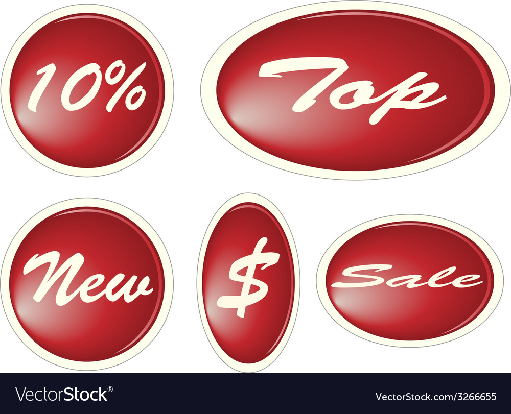 Set of red circle labels vector | Price: 1 Credit (USD $1)
