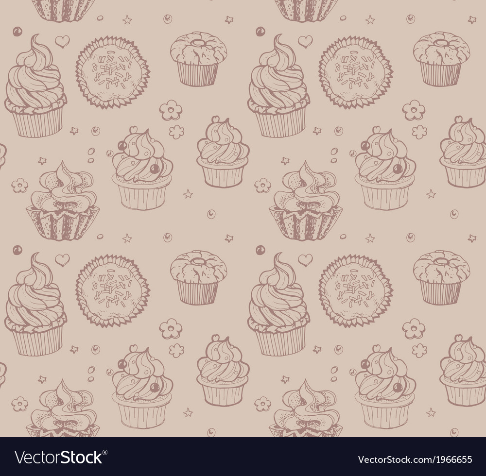 Tasty hand drawing seamless cupcake pattern vector | Price: 1 Credit (USD $1)