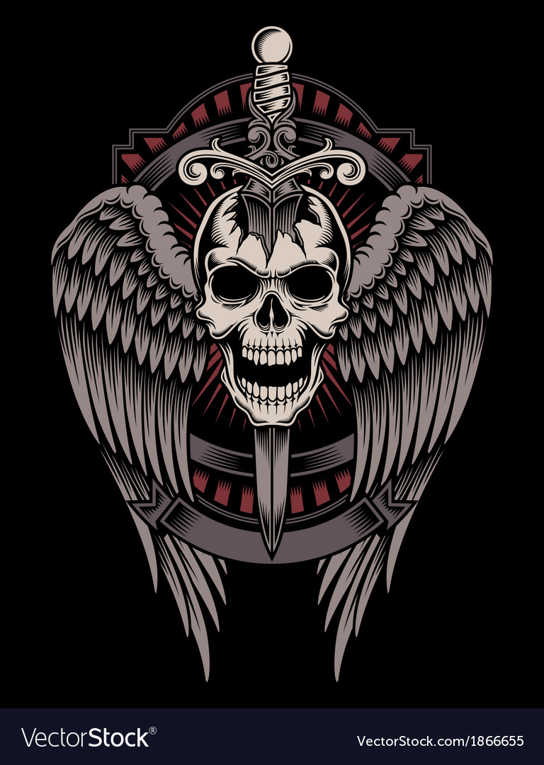 Winged skull with sword stuck vector | Price: 3 Credit (USD $3)