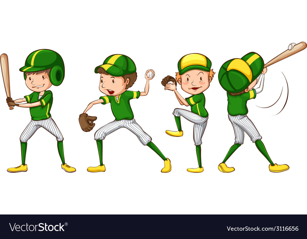 A coloured sketch of the baseball players in green vector   Price: 1 Credit (USD $1)