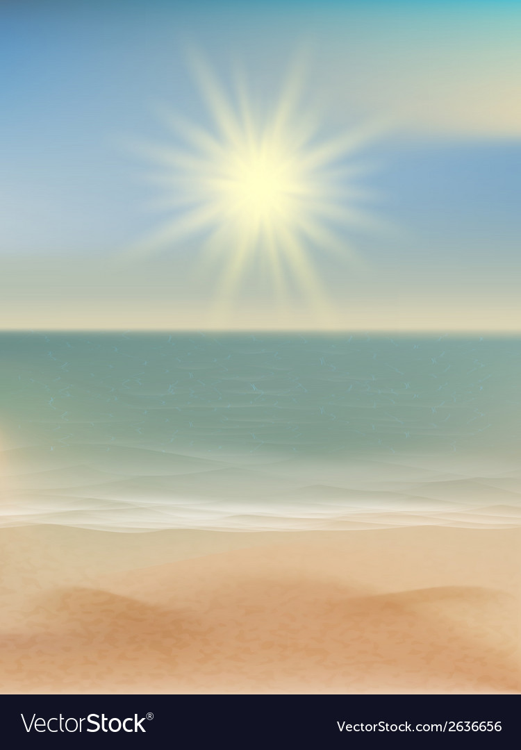 Beach and tropical sea with bright sun eps 10 vector | Price: 1 Credit (USD $1)