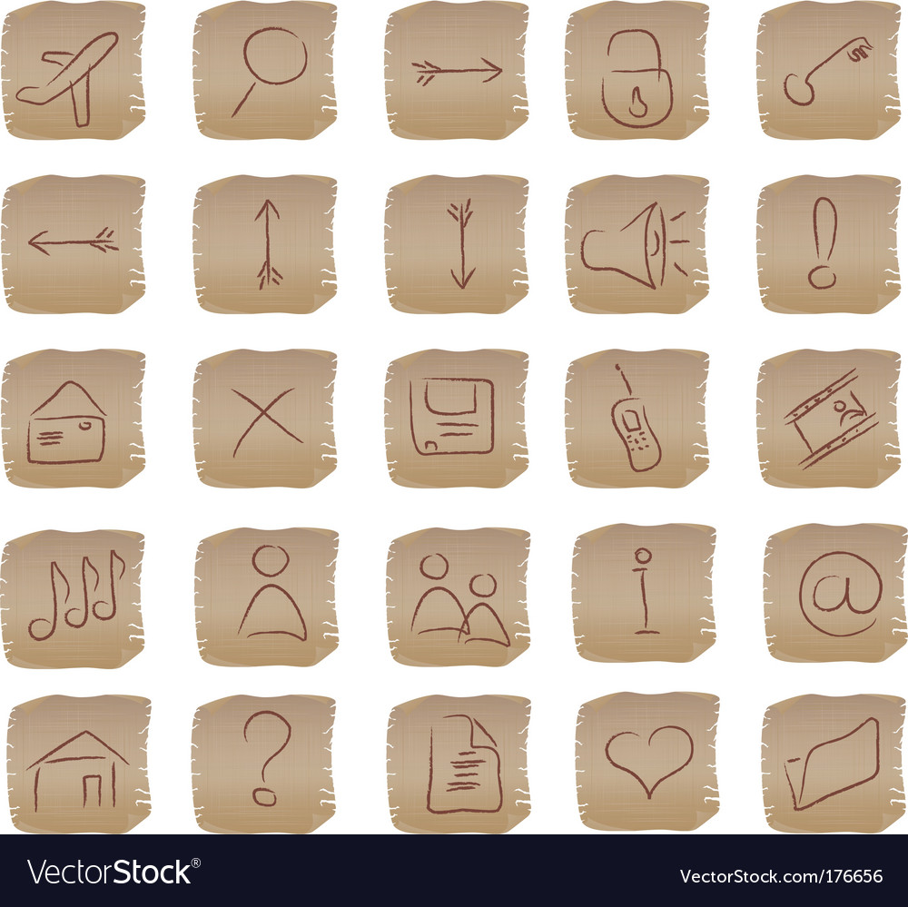 Beige square web buttons set vector | Price: 1 Credit (USD $1)