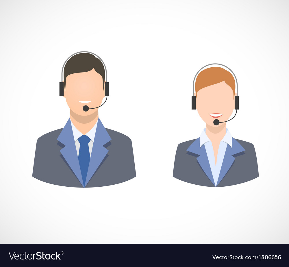 Call center support personnel staff icons vector | Price: 1 Credit (USD $1)