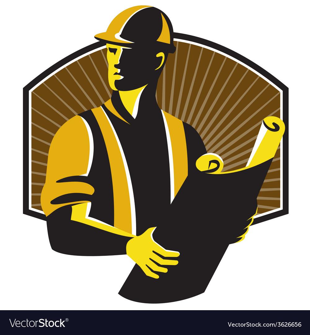 Construction engineer worker building plan retro vector | Price: 1 Credit (USD $1)