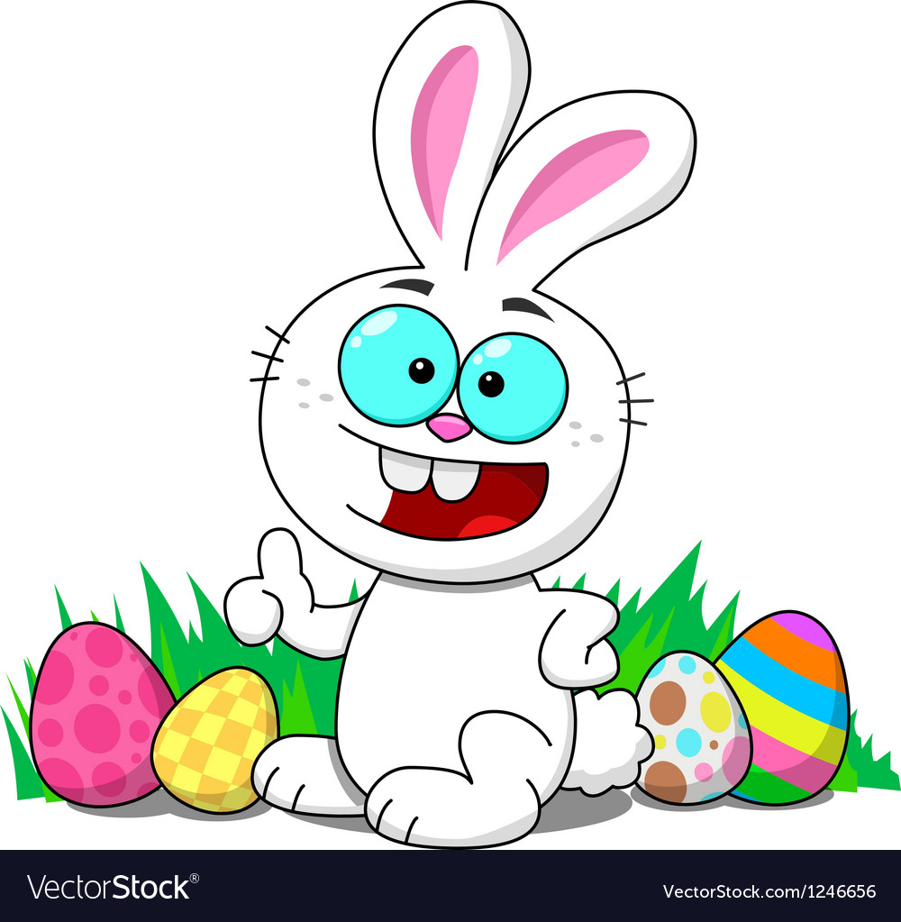 Easter bunny with eggs smiling vector | Price: 1 Credit (USD $1)