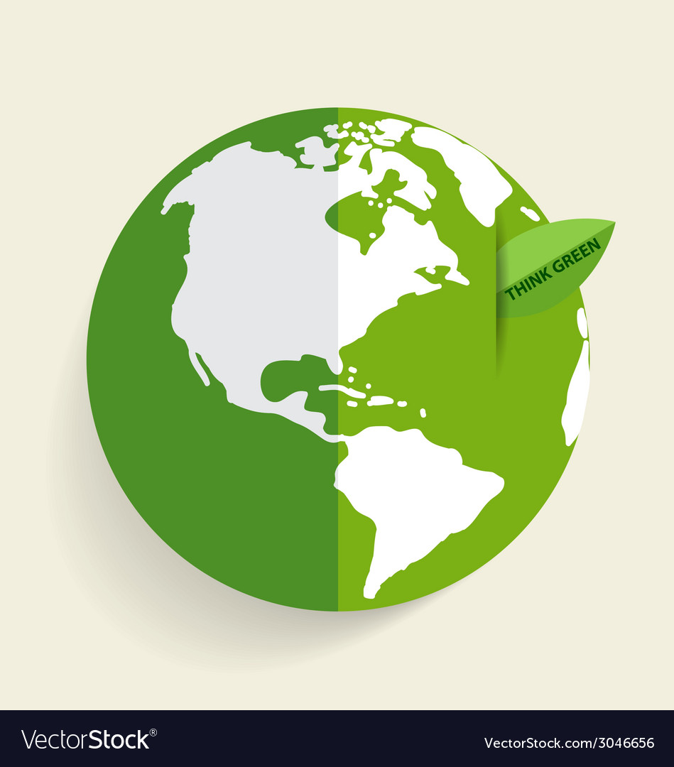 Green eco earth green earth with green leaf vector | Price: 1 Credit (USD $1)