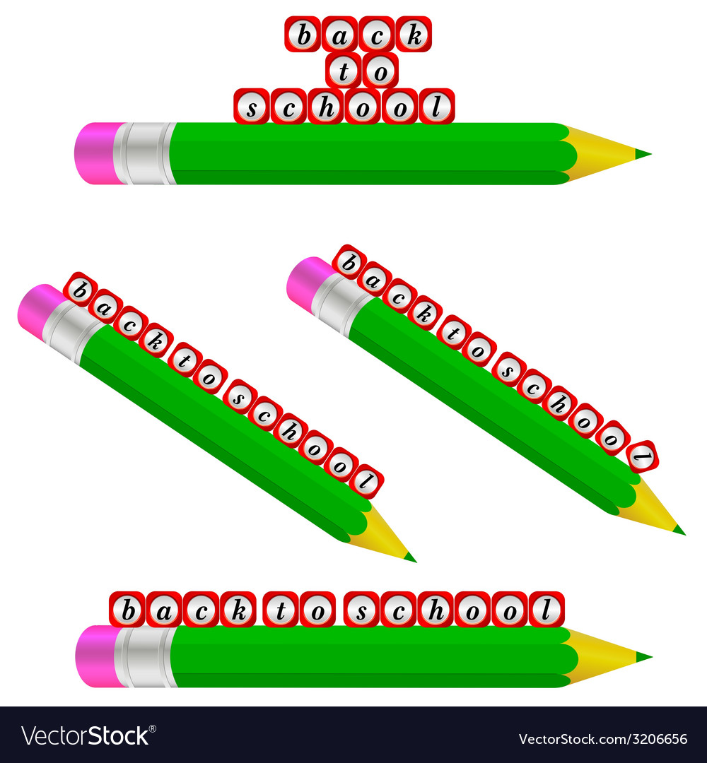 Green pencil and back to school vector | Price: 1 Credit (USD $1)