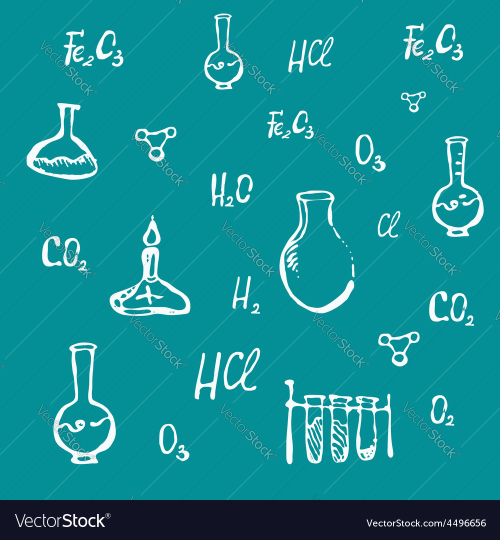Hand drawn chemical background vector | Price: 1 Credit (USD $1)