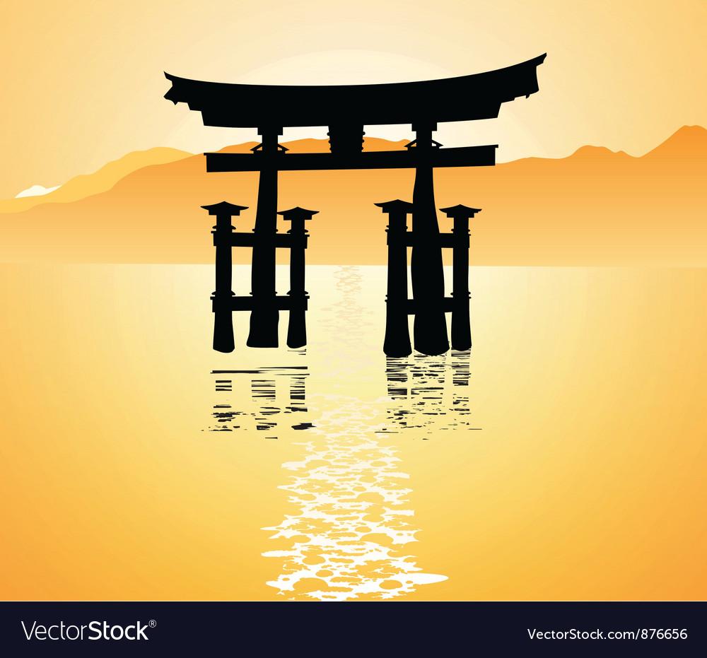 Heritage shrine in miyajima japan vector | Price: 1 Credit (USD $1)